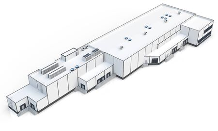 warehouse building: 3d warehouse, factory building on white background 3D illustration