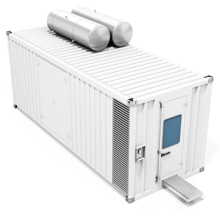 immovable: 3d mobile power station container on white background 3D illustration