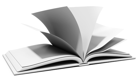 read magazine: 3d blank book with browsing pages on white background 3D illustration Stock Photo