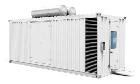 白い背景の 3 D イラストを 3 d モバイル発電所コンテナー 写真素材