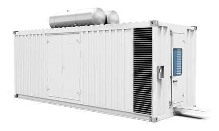 3d contenedor central eléctrica móvil sobre fondo blanco Ilustración 3D Foto de archivo - 56876919