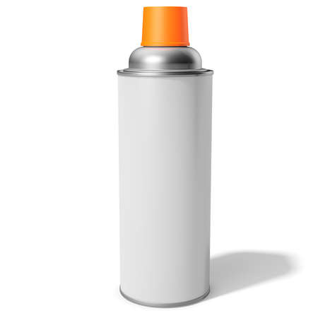 pressure bottle: 3d blank container, can, spray with orange cap on white background 3D illustration