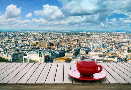 relax: table with cup of coffee on city background 3D illustration