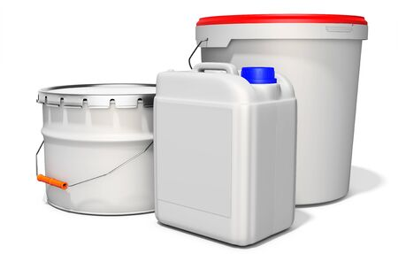 industrial decor: 3d white tub paint, bucket, container with metal handle and lid on white background 3D illustration