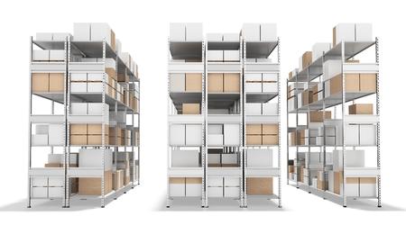 3d binnenland pakhuis met rijen van planken en dozen op een witte achtergrond 3D illustratie