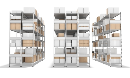 3d interior warehouse with rows of shelves and boxes on white background 3D illustration Banco de Imagens