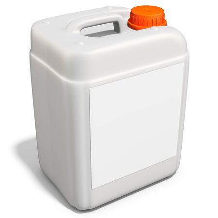 gallon: 3d plastic canister, container  on white background 3D illustration Stock Photo