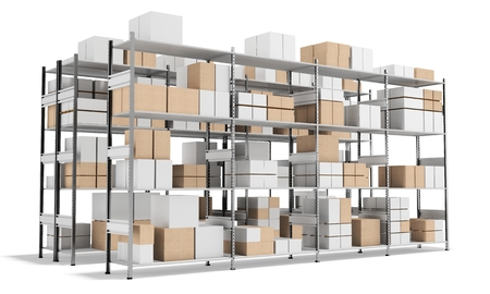 empty warehouse: 3d interior warehouse with rows of shelves and boxes on white background 3D illustration Stock Photo