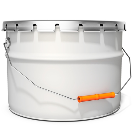3d white tub paint, bucket, container with metal handle and lid on white background 3D illustration