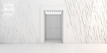 illuminated: Modern metal elevator with open doors, Hall Interior 3D illustration Stock Photo