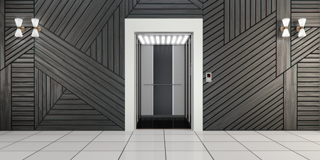 lift gate: Modern metal elevator with open doors and hall interior 3D illustration