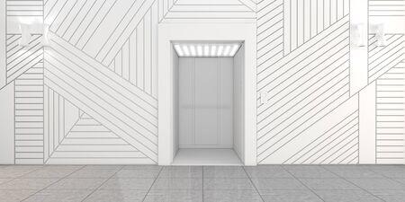 lift gate: Modern metal elevator with open doors, Hall Interior 3D illustration Stock Photo