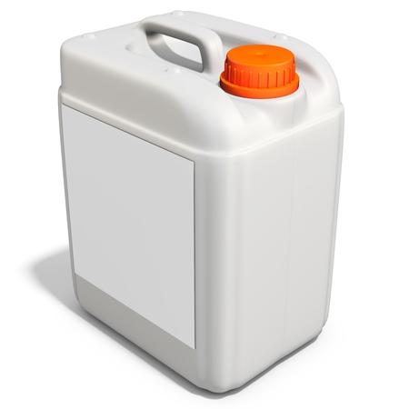 3d plastic canister, container  on white background 3D illustration Foto de archivo