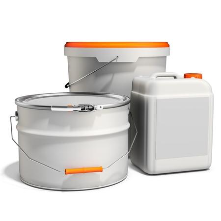 3d peinture blanche baignoire, seau, récipient avec poignée en métal et le couvercle sur fond blanc illustration 3D Banque d'images