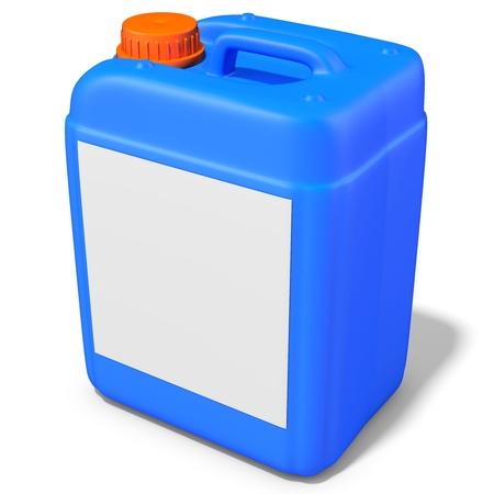 productos quimicos: 3d azul recipiente de plástico, contenedores sobre fondo blanco Ilustración 3D