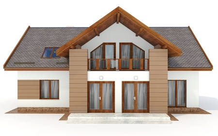 contemporary house: 3d contemporary house, villa on a white background 3D illustration