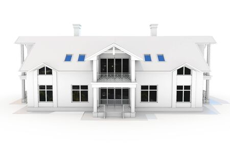 construction projects: 3d contemporary house, villa on a white background 3D illustration