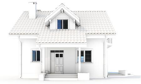villa: 3d contemporary house, villa on a white background 3D illustration