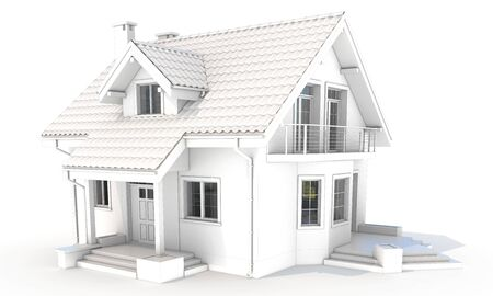 luxury home exterior: 3d contemporary house, villa on a white background 3D illustration