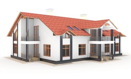 casale: 3D casa contemporanea, villa su uno sfondo bianco illustrazione 3D Archivio Fotografico