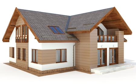 roof construction: 3d contemporary house, villa on a white background 3D illustration