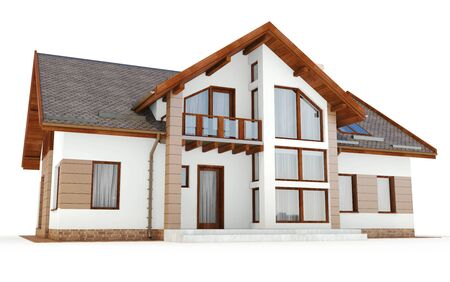 luxury house exterior: 3d contemporary house, villa on a white background 3D illustration