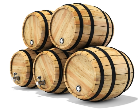 oak wood: 3d wine barrel stack on white background 3D illustration