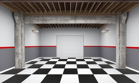 3d lege garage met metalen rolluik deur op een witte achtergrond 3D illustratie