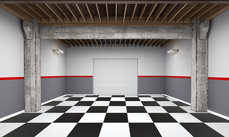3d empty garage with metallic roller shutter door on white background 3D illustration
