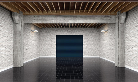 metal industry: 3d empty garage with metallic roller shutter door on white background 3D illustration