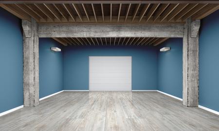 puertas de madera: 3d garaje vacía con puerta de persiana metálica sobre fondo blanco Ilustración 3D Foto de archivo