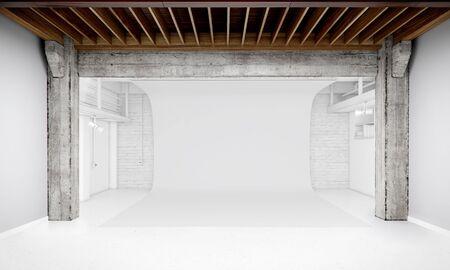 interior shot: Modern Interior of Photo Studio with white background 3D illustration