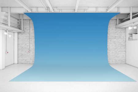 white interior: Modern Interior of Photo Studio with blue background 3D illustration