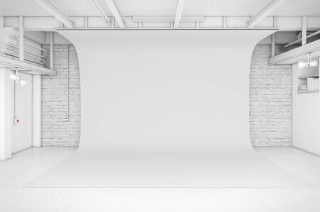 Moderne Inter von Photo Studio mit weißem Hintergrund 3D-Darstellung