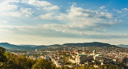 matthias: Buda Castle with Royal Palace and Matthias Church in Budapest, Hungary. View from the Gellert Hill