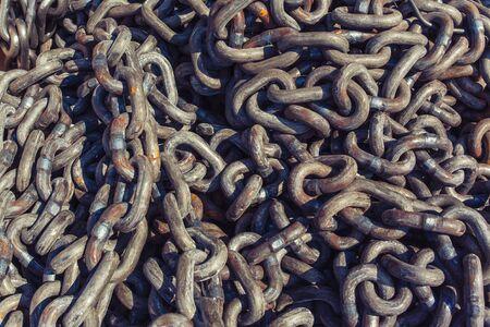 heavy chains: pile of heavy metal chain, marine anchor chains