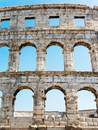 roman amphitheater: Ancient Roman Amphitheater wall in Pula, Istria, Croatia