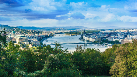 szechenyi: Buda Castle with Royal Palace and Matthias Church and the Szechenyi Chain Bridge over Danube in Budapest, Hungary. View from the Gellert Hill Stock Photo