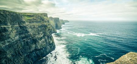 doolin: famous cliffs of moher, west coast of ireland at wild atlantic ocean