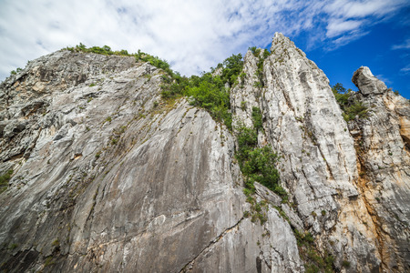 cliff face: Low angle view of a cliff face near Danube river Stock Photo