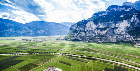 wineries: mountain landscape with wineries in Trento, Italy. Wine production is one of the main industries in this area.