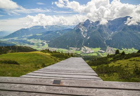 paraglide: Mountain landscape with paraglide ramp, Austrian Alps