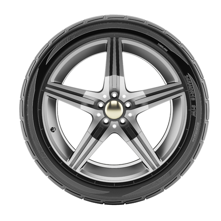 rims: Car wheel with sport rims isolated on white background