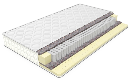 double volume: 3d double comfortable orthopedic mattress cut out in realistic style with layers on white background
