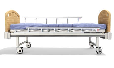 movable: 3d detailed mobile hospital bed with recliner on white background Stock Photo