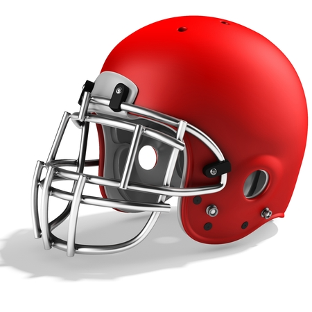 3d Red American football helmet on a white background Stock Photo