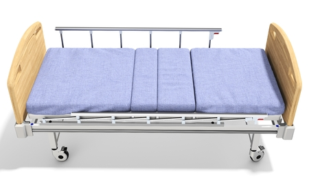 ambulatory: 3d detailed mobile hospital bed with recliner on white background Stock Photo