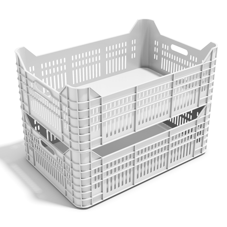 crates: 3d stack of plastic crates on white background Stock Photo