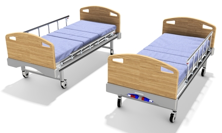 recline: 3d detailed mobile hospital beds with recliner on white background