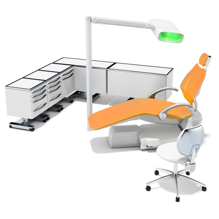 dental chair: 3d modern dental chair, furniture and light on white background